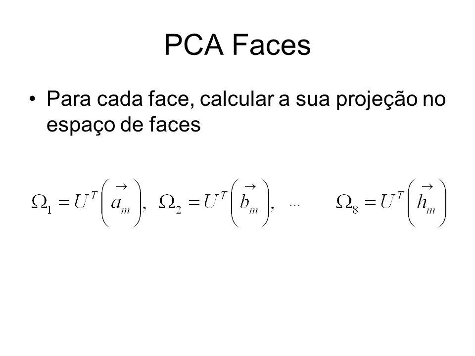 PCA Faces Para cada face, calcular a sua projeção no espaço de faces