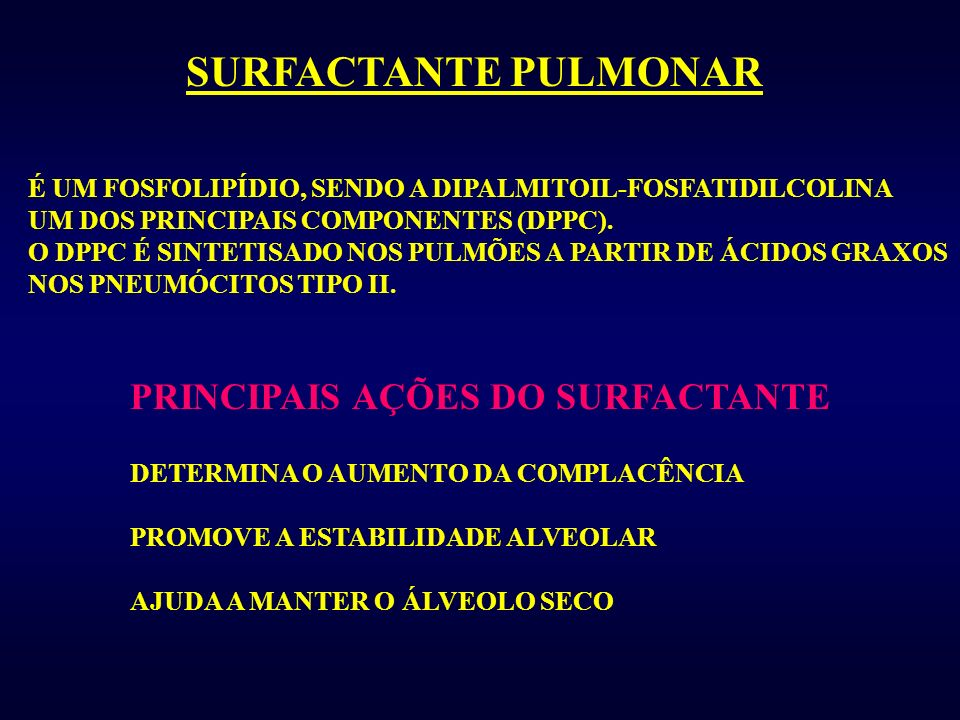 SURFACTANTE PULMONAR PRINCIPAIS AÇÕES DO SURFACTANTE