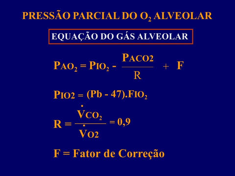 PACO2 PAO2 = PIO2 - F R PIO2 = VCO2 R = VO2 F = Fator de Correção