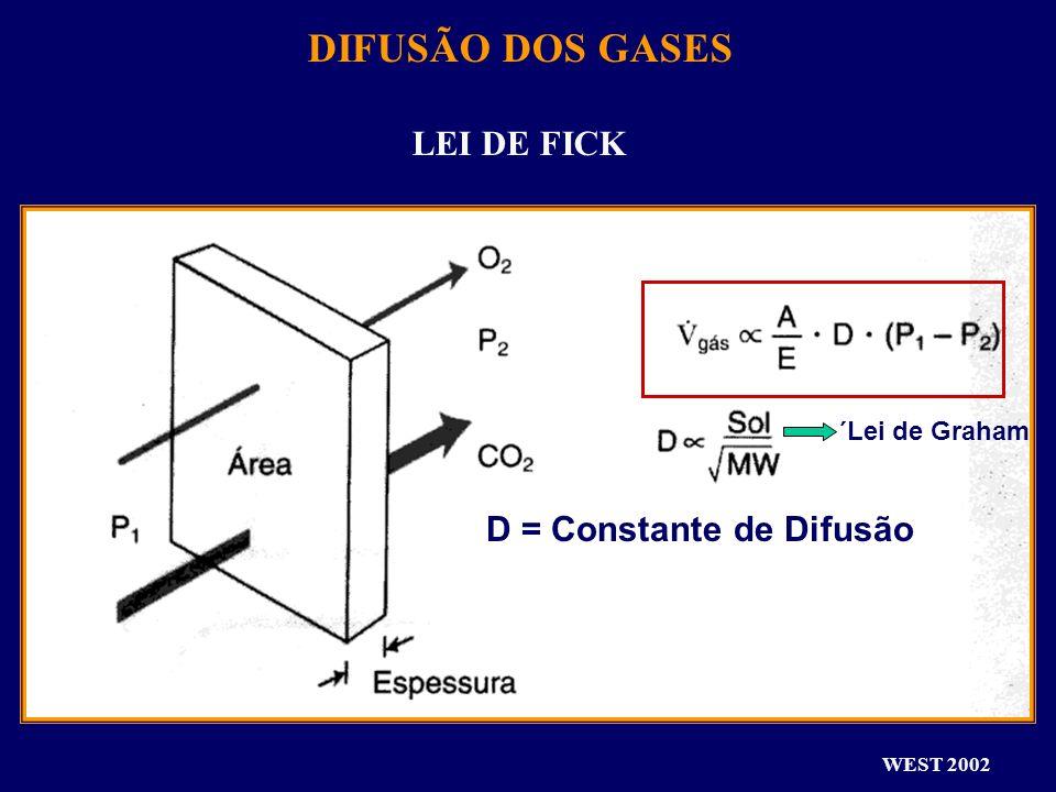 DIFUSÃO DOS GASES LEI DE FICK D = Constante de Difusão ´Lei de Graham