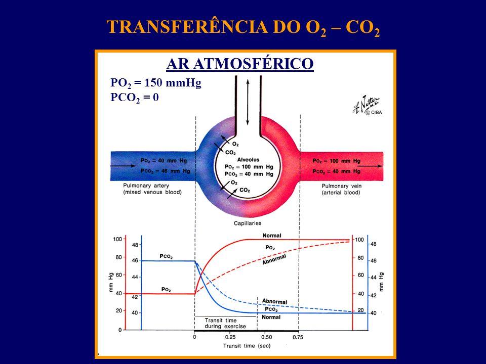TRANSFERÊNCIA DO O2 – CO2 AR ATMOSFÉRICO PO2 = 150 mmHg PCO2 = 0