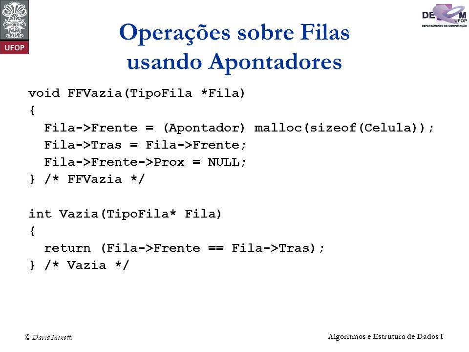 Operações sobre Filas usando Apontadores