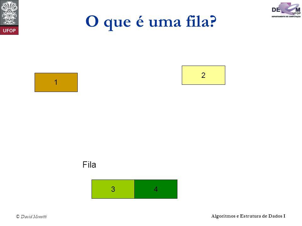 O que é uma fila 2 1 Fila 3 4 Algoritmos e Estrutura de Dados I