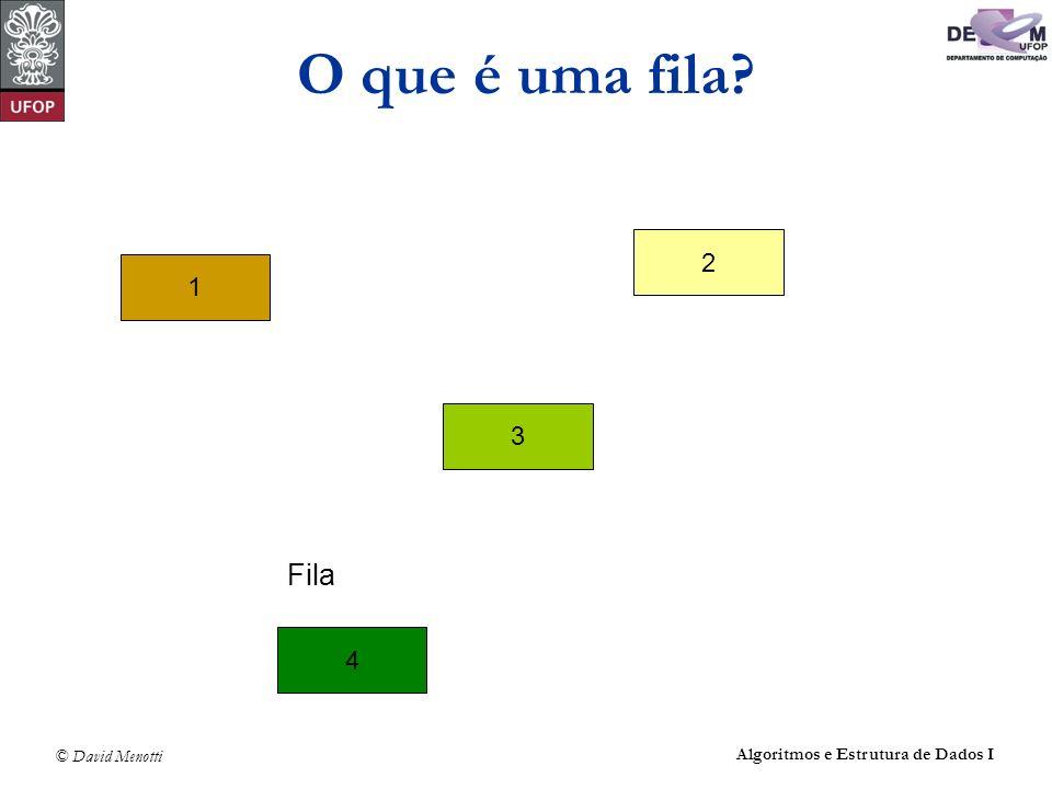 O que é uma fila 2 1 3 Fila 4 Algoritmos e Estrutura de Dados I