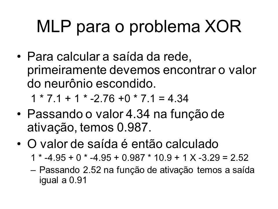 MLP para o problema XORPara calcular a saída da rede, primeiramente devemos encontrar o valor do neurônio escondido.