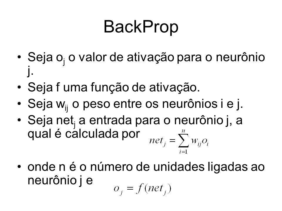 BackProp Seja oj o valor de ativação para o neurônio j.