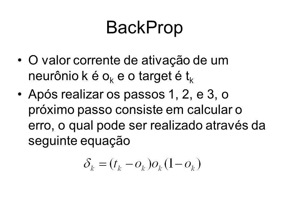 BackProp O valor corrente de ativação de um neurônio k é ok e o target é tk.