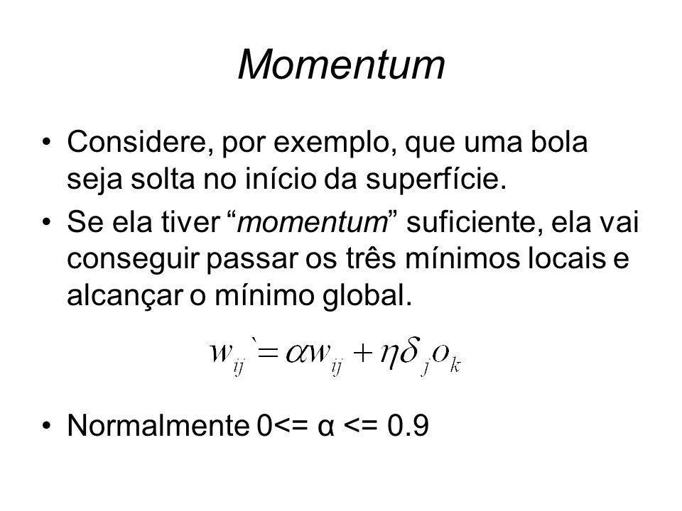 Momentum Considere, por exemplo, que uma bola seja solta no início da superfície.