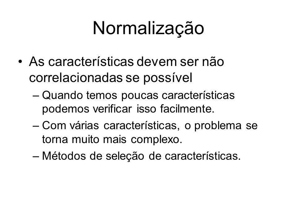 Normalização As características devem ser não correlacionadas se possível. Quando temos poucas características podemos verificar isso facilmente.