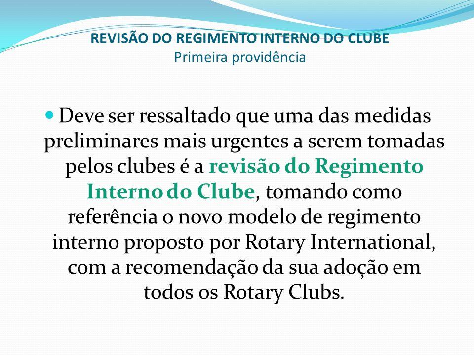 REVISÃO DO REGIMENTO INTERNO DO CLUBE Primeira providência