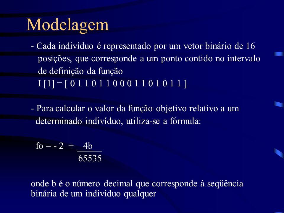 Modelagem - Cada indivíduo é representado por um vetor binário de 16