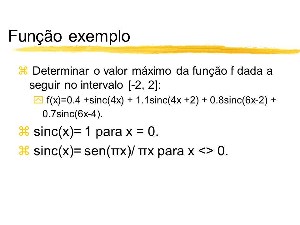 Função exemplo sinc(x)= 1 para x = 0.