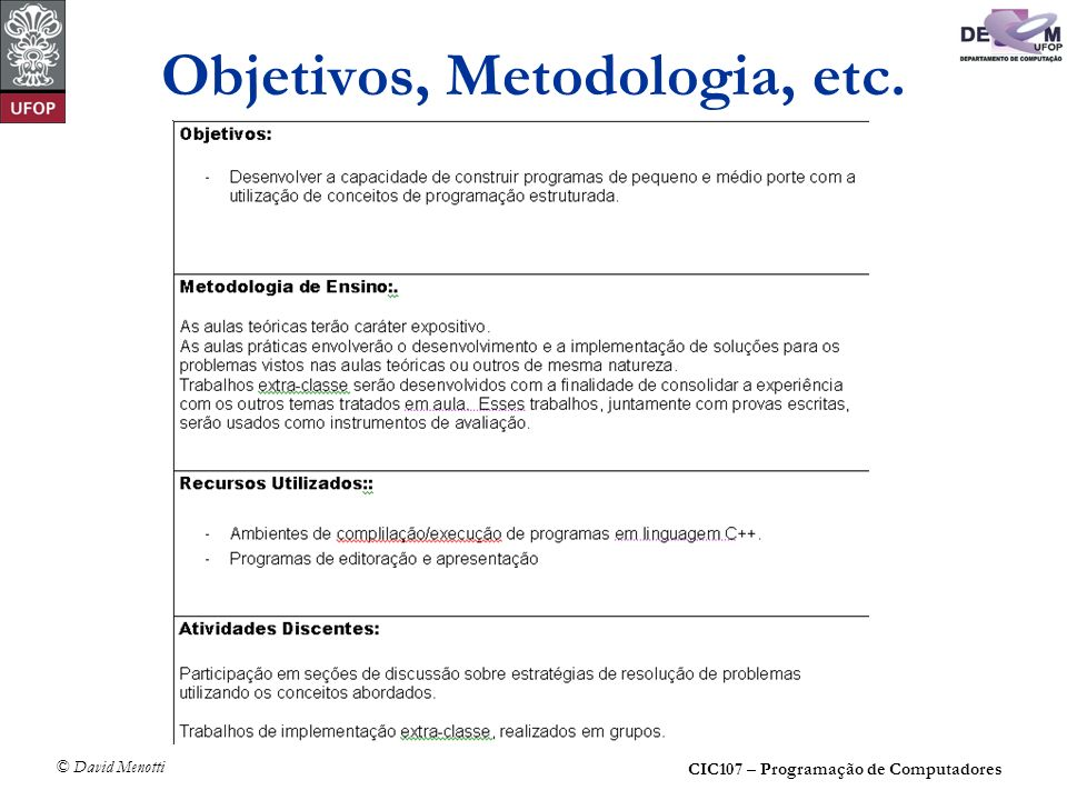 Objetivos, Metodologia, etc.