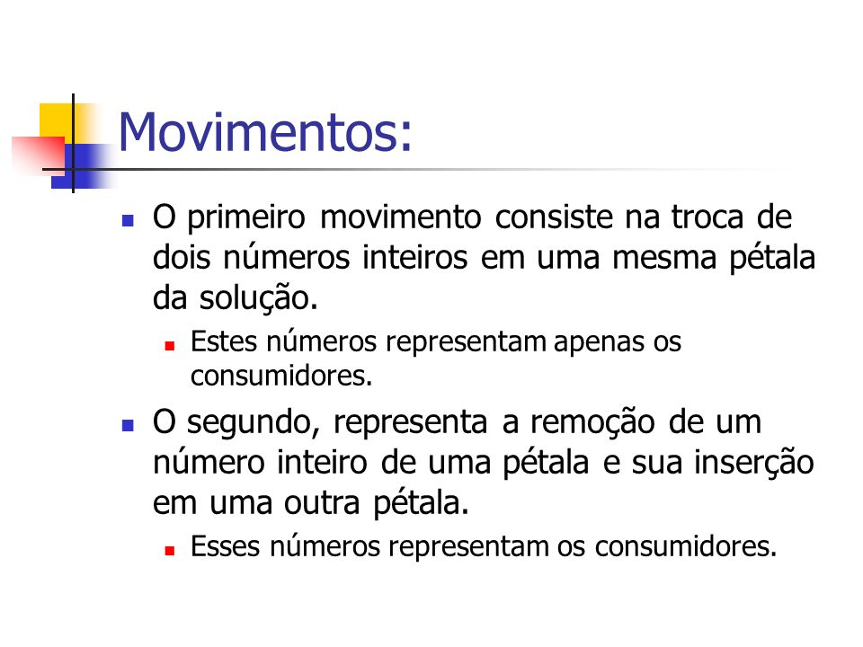 Movimentos: O primeiro movimento consiste na troca de dois números inteiros em uma mesma pétala da solução.