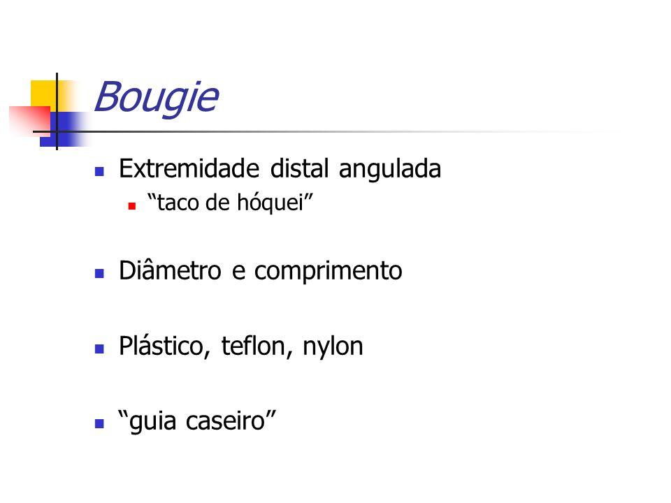 Bougie Extremidade distal angulada Diâmetro e comprimento