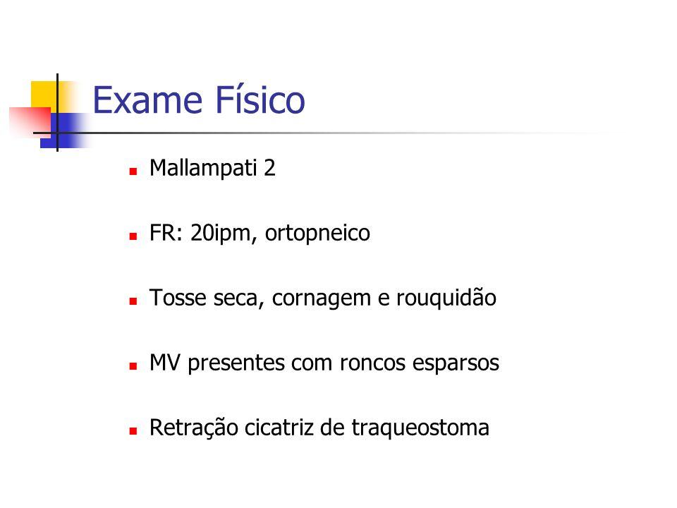 Exame Físico Mallampati 2 FR: 20ipm, ortopneico