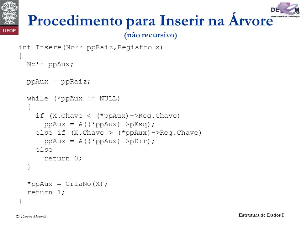 Procedimento para Inserir na Árvore (não recursivo)