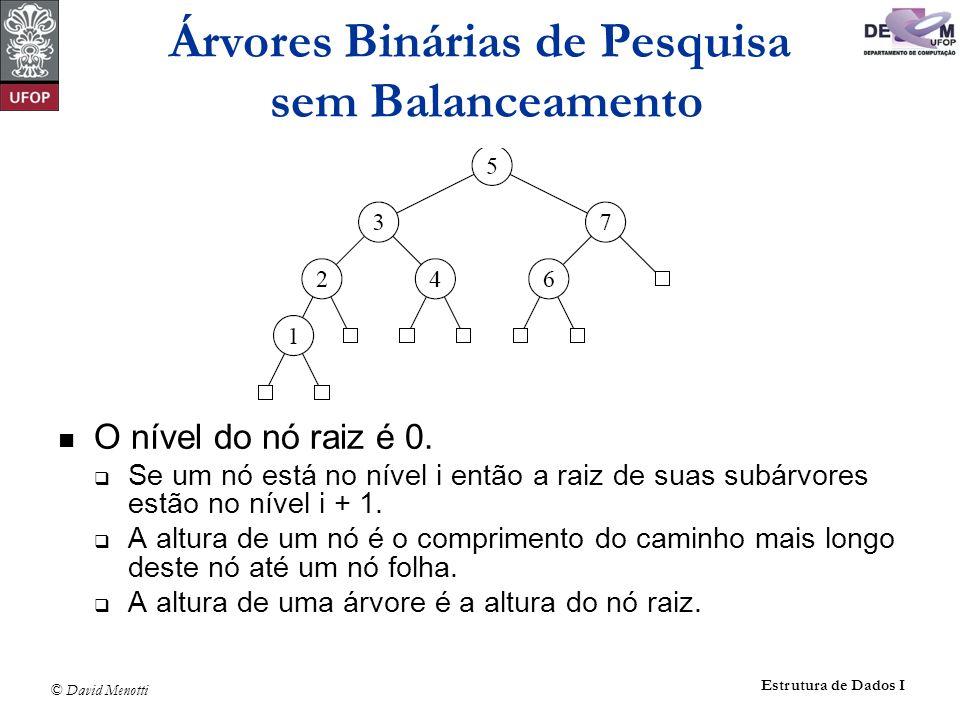 Árvores Binárias de Pesquisa sem Balanceamento