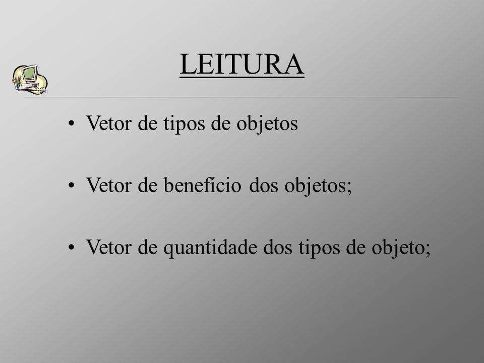 LEITURA Vetor de tipos de objetos Vetor de benefício dos objetos;
