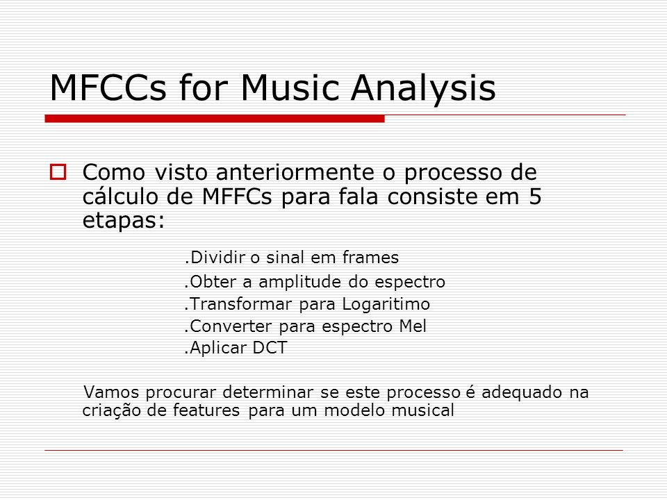 MFCCs for Music Analysis