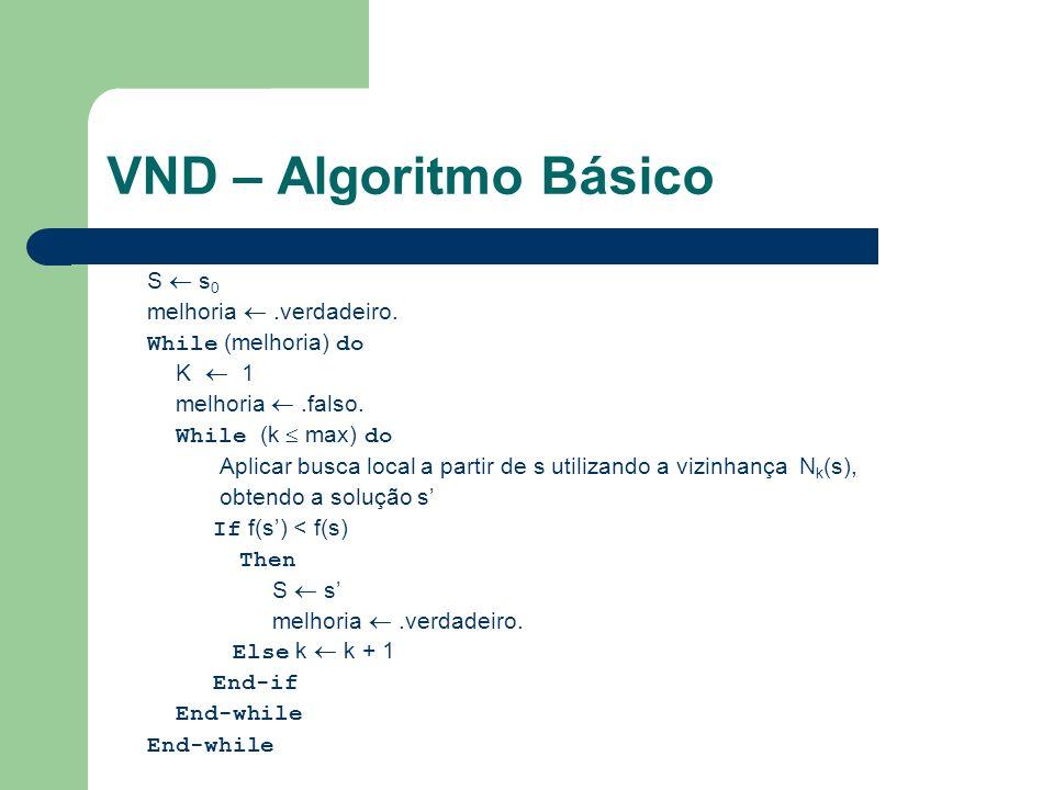 VND – Algoritmo Básico S  s0 melhoria  .verdadeiro.