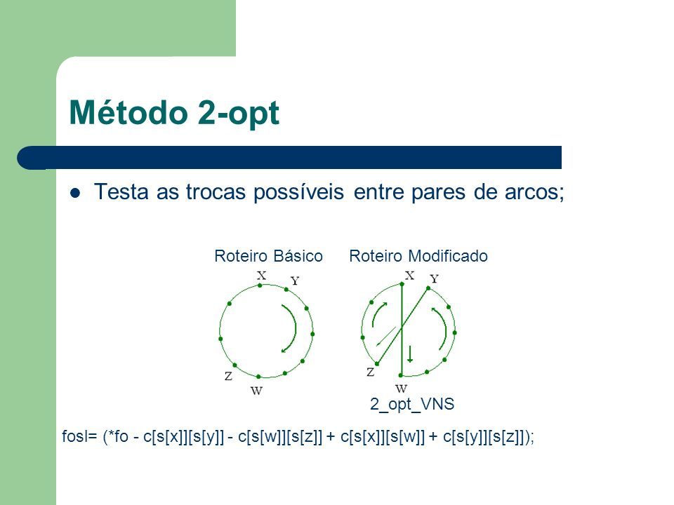Método 2-opt Testa as trocas possíveis entre pares de arcos;