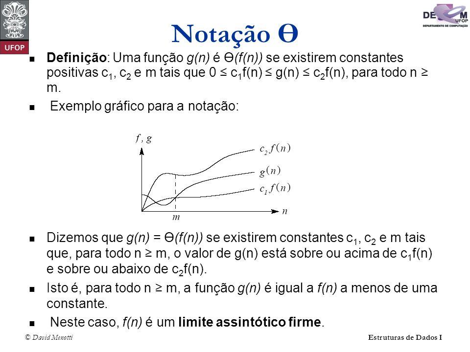 Notação Ө Definição: Uma função g(n) é Ө(f(n)) se existirem constantes positivas c1, c2 e m tais que 0 ≤ c1f(n) ≤ g(n) ≤ c2f(n), para todo n ≥ m.