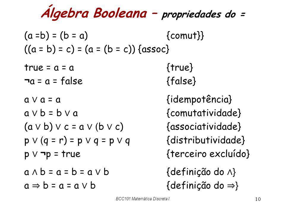 Álgebra Booleana – propriedades do =