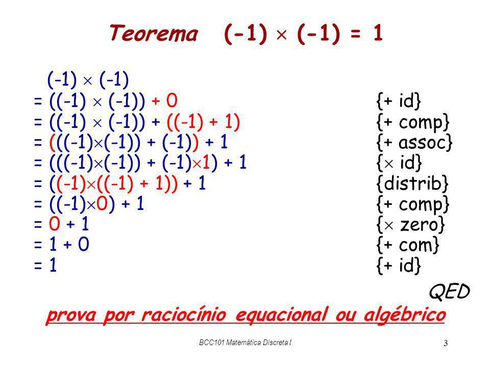 prova por raciocínio equacional ou algébrico