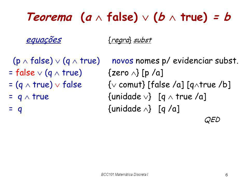 Teorema (a  false)  (b  true) = b