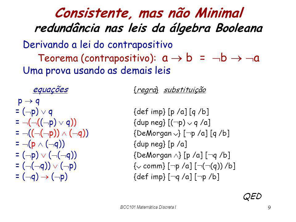 Consistente, mas não Minimal redundância nas leis da álgebra Booleana