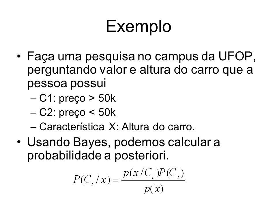Exemplo Faça uma pesquisa no campus da UFOP, perguntando valor e altura do carro que a pessoa possui.