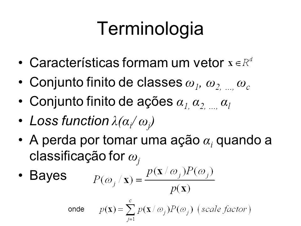 Terminologia Características formam um vetor