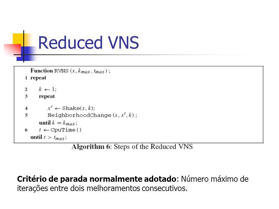 Reduced VNS Critério de parada normalmente adotado: Número máximo de iterações entre dois melhoramentos consecutivos.