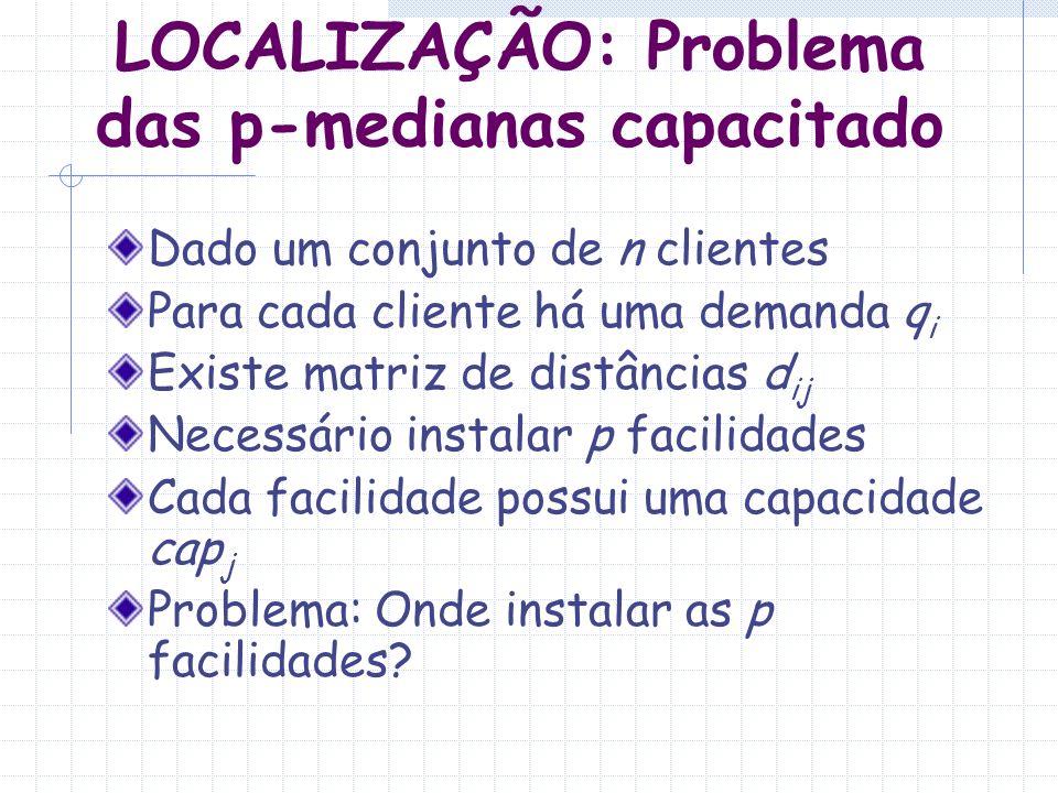 LOCALIZAÇÃO: Problema das p-medianas capacitado