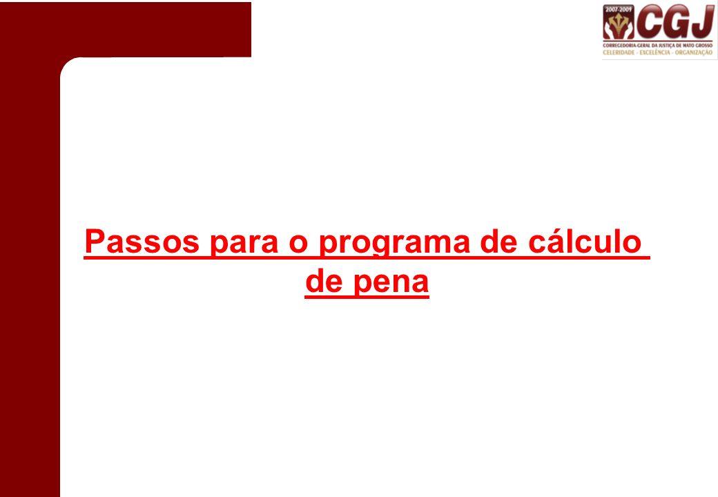 Passos para o programa de cálculo