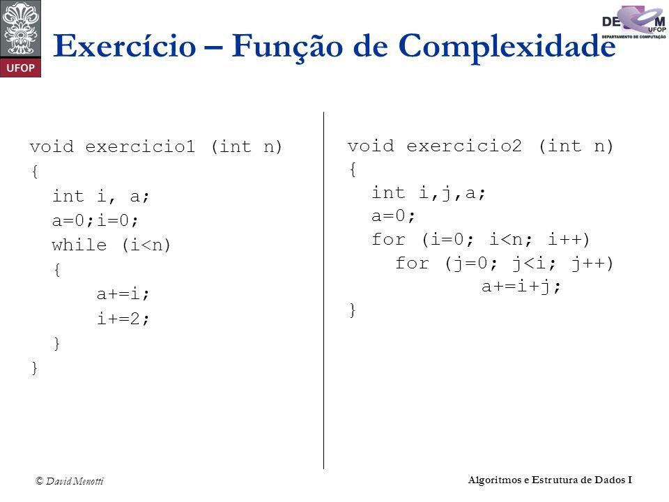 Exercício – Função de Complexidade
