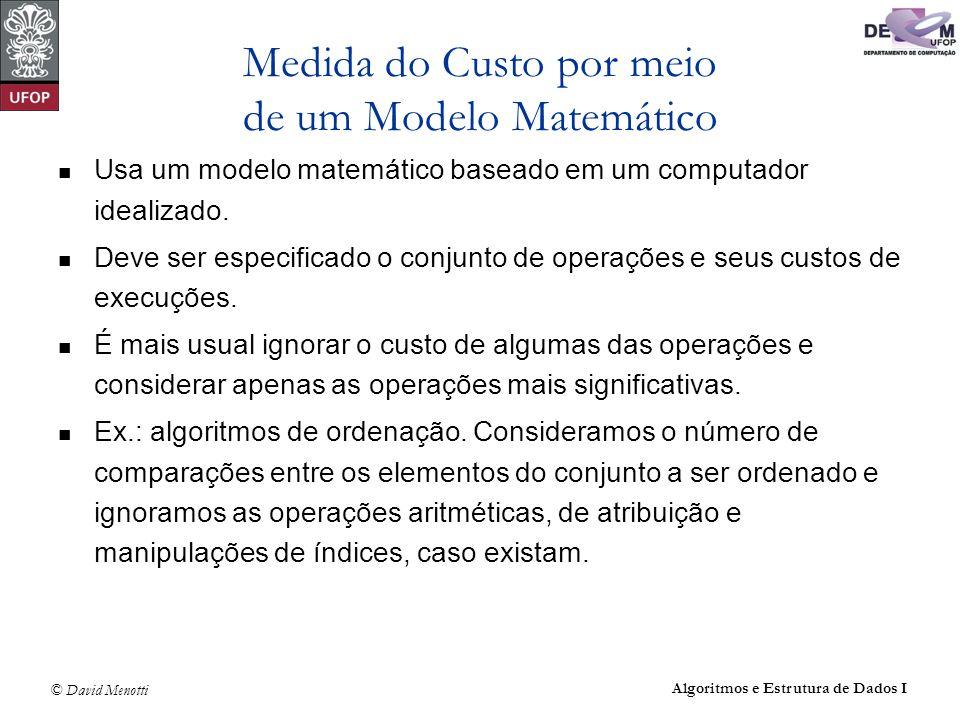 Medida do Custo por meio de um Modelo Matemático