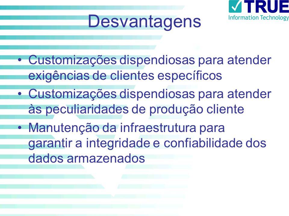 Desvantagens Customizações dispendiosas para atender exigências de clientes específicos.