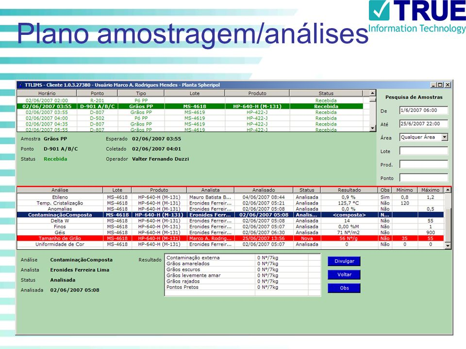 Plano amostragem/análises