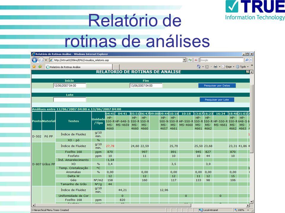 Relatório de rotinas de análises