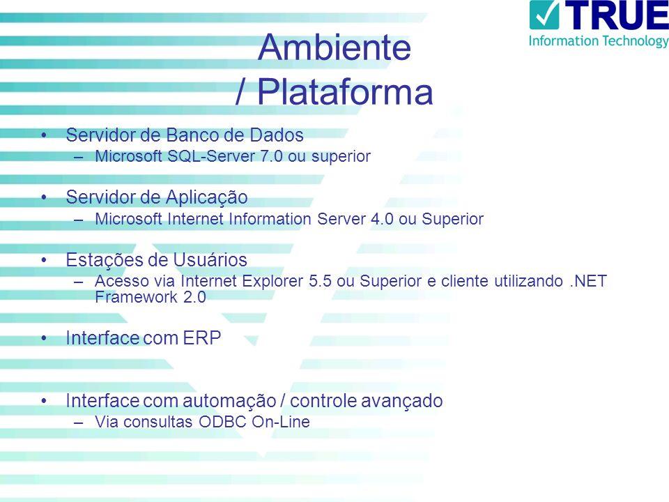 Ambiente / Plataforma Servidor de Banco de Dados Servidor de Aplicação