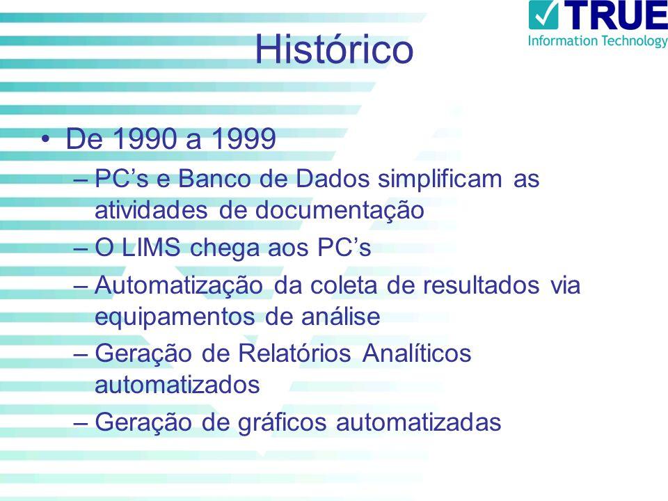 Histórico De 1990 a 1999. PC's e Banco de Dados simplificam as atividades de documentação. O LIMS chega aos PC's.