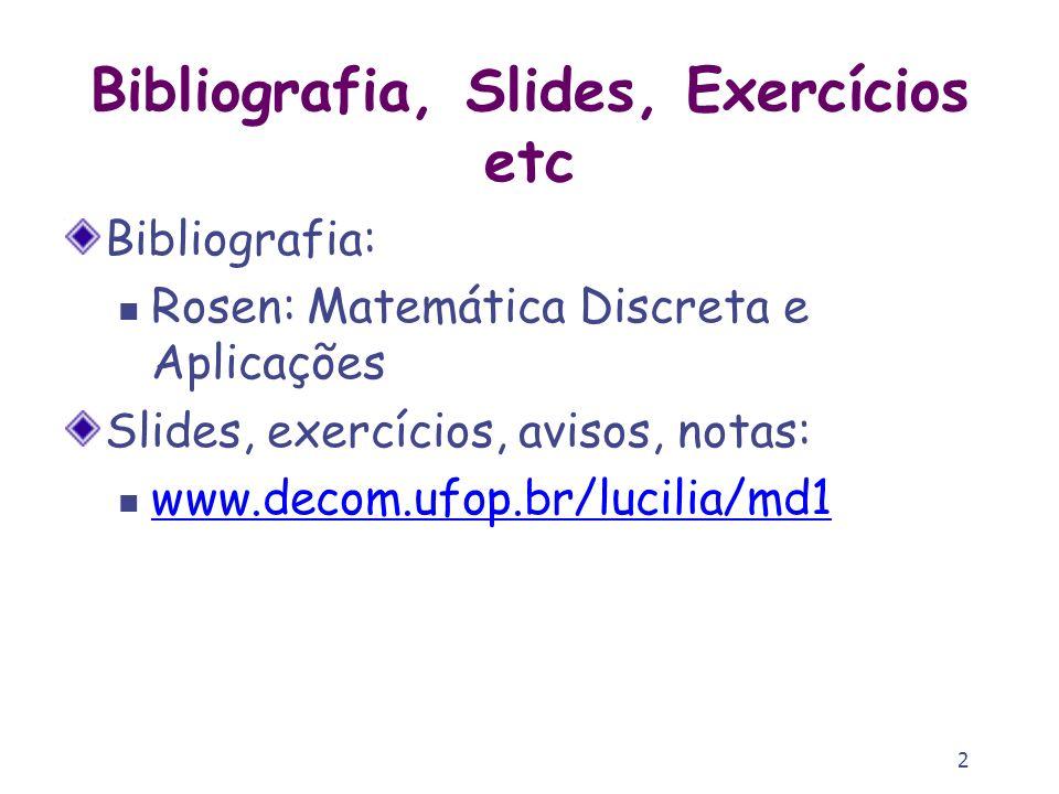 Bibliografia, Slides, Exercícios etc