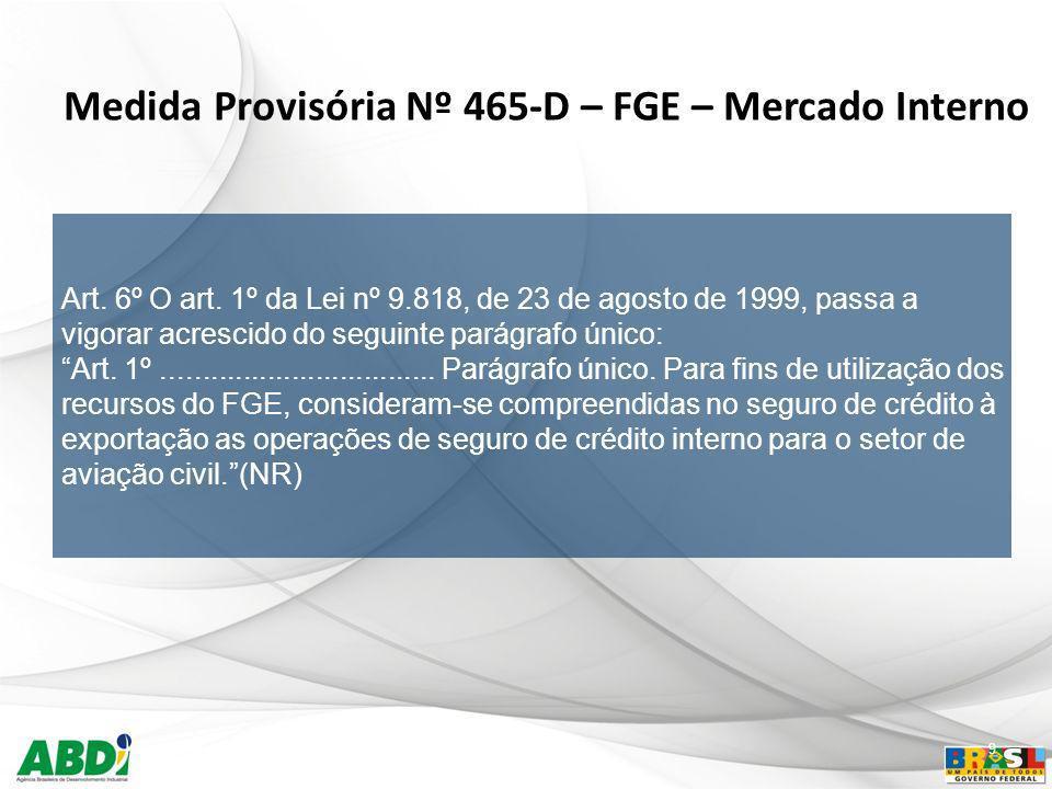 Medida Provisória Nº 465-D – FGE – Mercado Interno