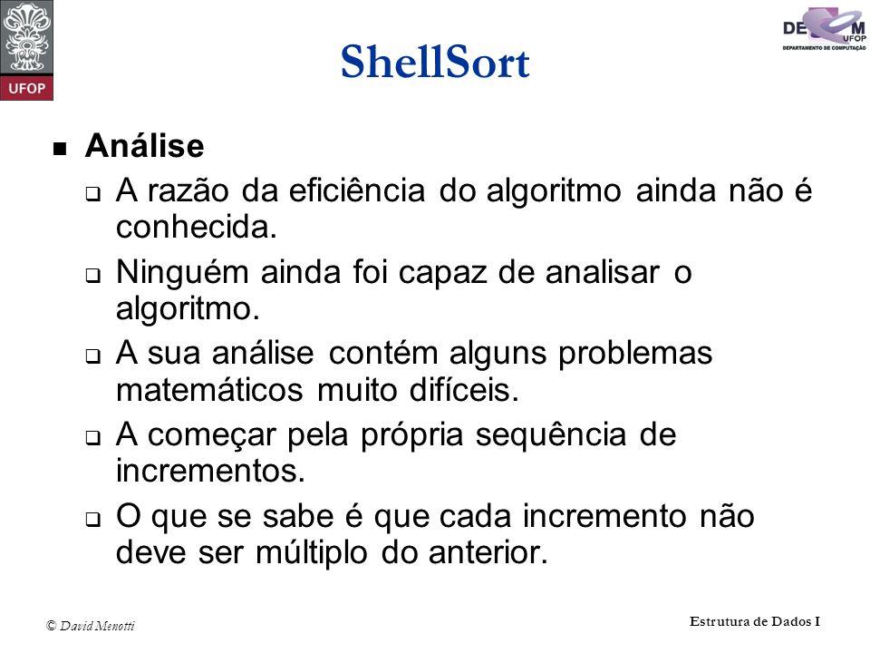 ShellSort Análise. A razão da eficiência do algoritmo ainda não é conhecida. Ninguém ainda foi capaz de analisar o algoritmo.