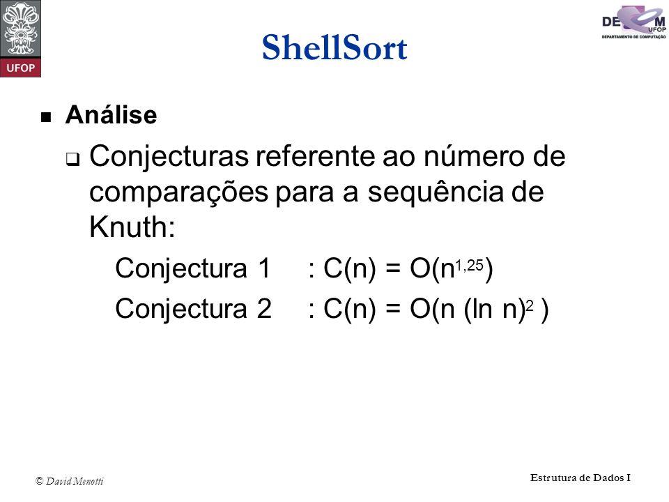 ShellSort Análise. Conjecturas referente ao número de comparações para a sequência de Knuth: Conjectura 1 : C(n) = O(n1,25)