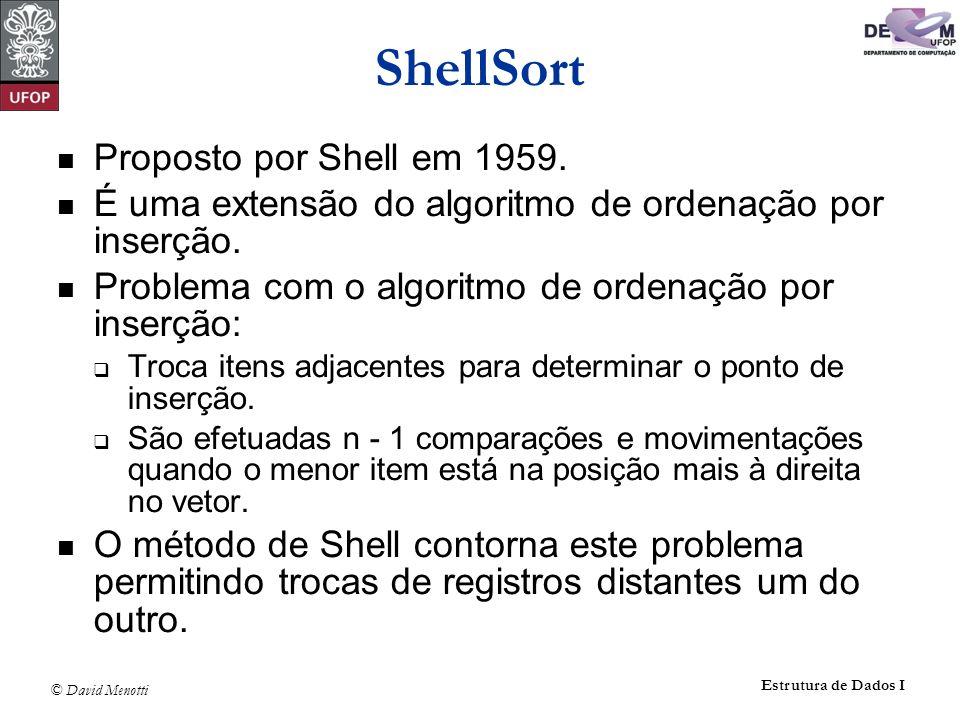 ShellSort Proposto por Shell em 1959.