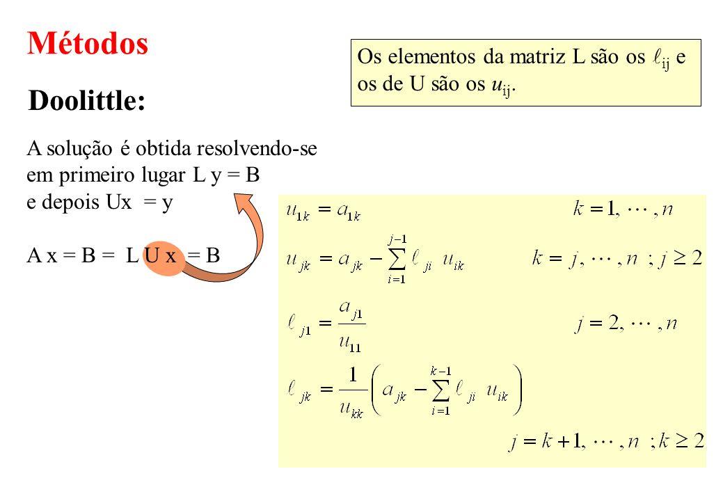 Métodos Doolittle: Os elementos da matriz L são os lij e