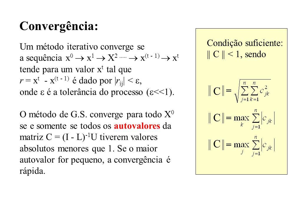 Convergência: C Condição suficiente: Um método iterativo converge se